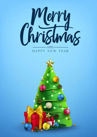 Christmas Poster Decorative Design with Christmas Tree, Gifts, Balls, Star, Pine Cone and Lights in Blue Background Greeting Card with Merry Christmas Typography Lettering Message. Vector Illustration