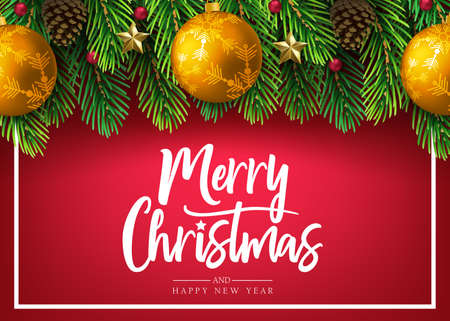 Merry Christmas Decorative Banner Greeting Holiday Card with Realistic Christmas Tree Branches Arranged Horizontal, Pine Cone and Christmas Balls in Red Background. Vector Illustration