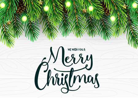 Merry Christmas Holiday Greeting Card Design with Realistic Christmas Tree Branches Arranged Horizontal, Pine Cone and Christmas Lights in White Wooden Background. Vector Illustration Ilustrace