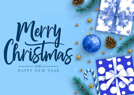 Merry Christmas and Happy New Year Lettering Calligraphic Holiday Postcard Greeting Text in Blue Background with Gifts, Realistic Looking Christmas Tree Branches, Balls, Stars and Pine Cones. Vector Illustration
