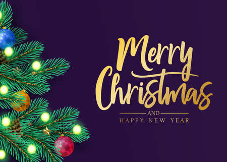 Merry Christmas and Happy New Year Holiday Greeting Decorative Postcard Design with Realistic Looking Christmas Tree Branches, Balls, Stars, Lights and Pine Cones in Purple Background. Vector Illustration Ilustrace