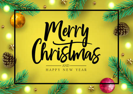 Holiday Postcard with Calligraphic Merry Christmas and Happy New Year Greeting Inside Frame with Decorative Vertically Arranged Realistic Looking Christmas Tree Branches, Balls, Stars, Lights and Pine Cones in Yellow Gold Background. Vector Illustration