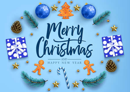 Merry Christmas and Happy New Year Calligraphic Greeting Holiday Postcard with Gifts, Realistic Looking Christmas Tree Branches, Balls, Sugar Cane, Ginger Breads, Stars and Pine Cones in Blue Background. Vector Illustration