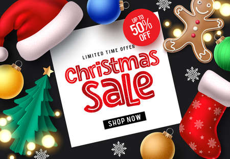 Christmas sale vector banner background. Christmas sale on white space with colorful xmas decor elements of santa hat, sock, balls, and snowflakes for holiday season promotion in black background. Vector illustration.