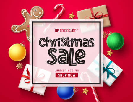 Christmas sale vector banner template. Christmas holiday season sale text in white frame with xmas element decor of candy cane, gifts, ginger head, balls, stars and snowflakes in red background. Vector illustration.