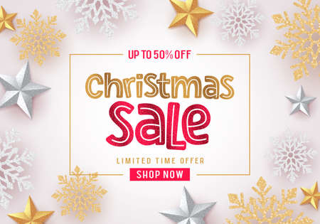 Christmas sale vector banner background design. Christmas sale text in white with gold and silver snowflakes and stars elements in background for holiday season promotion. Vector illustration. Ilustrace