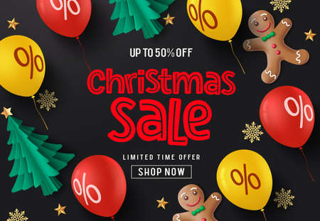 Christmas sale balloons vector banner background. Christmas sale promotion text with paper cut xmas tree, balloon, ginger head, snowflakes and stars element in black background. Vector illustration.