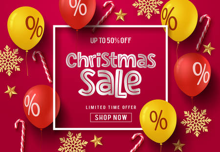 Christmas sale balloon vector banner background. Christmas sale text in frame with colorful elements of balloons, candy cane, snowflakes and stars in red background. Vector illustration.