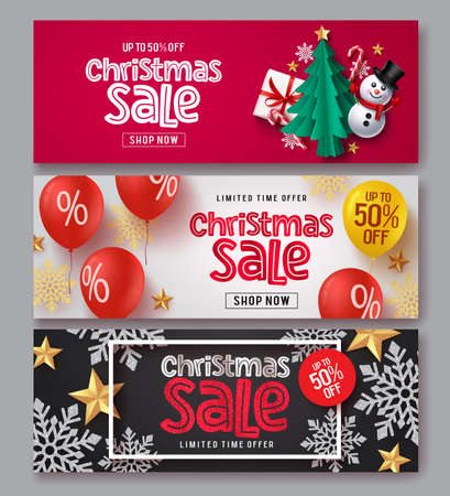 Christmas sale vector banner set. Christmas sale text with xmas elements of gift, snowman, tree, candy cane, balloons, snowflakes and stars in red, white and black background for holiday season promotion. Vector illustration. Ilustrace