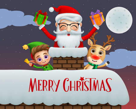 Christmas greeting card vector background design. Merry christmas text with xmas characters of elf, reindeer and santa claus holding gifts in chimney roof with snow falling at night background. Vector illustration.