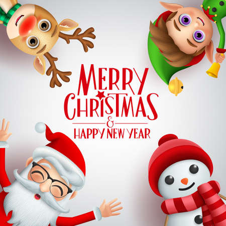 Merry christmas greeting vector background template. Merry christmas and happy new year text with santa claus, reindeer, elf and snowman xmas characters in white background. Vector illustration.