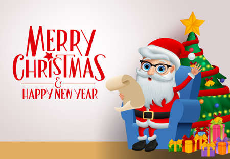 Christmas greeting card with santa claus character vector background template. Merry christmas greeting text with santa claus sitting in chair holding wish list with colorful christmas tree and gifts element in white wall background. Vector illustration.