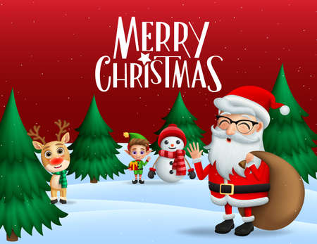 Christmas in snow vector banner background. Merry christmas greeting text with xmas characters of santa claus, reindeer, snowman, and elf with pine tree and snow in red background. Vector illustration.