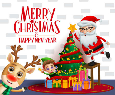 Christmas vector background design. Merry christmas and happy new year text with xmas characters of reindeer, elf and santa claus with happy face putting stars in colorful christmas tree and gifts elements in white wall background. Vector illustration.