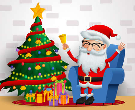 Santa claus sitting vector background design. Christmas santa claus character happy sitting in chair and holding bell with christmas tree in colorful lights, balls and gift elements in white wall background. Vector illustration. Ilustrace