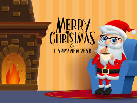 Christmas character santa claus eating vector background design. Merry christmas greeting text with santa claus character sitting, eating cookie and drinking coffee in room with chimney in orange wall background. Vector illustration.
