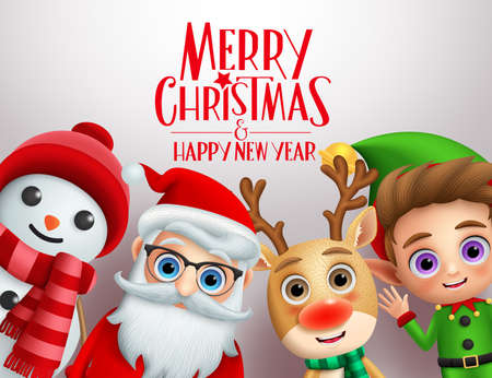 Christmas characters vector background template. Merry christmas and happy ne year greeting text with cute xmas character of santa claus, reindeer, snowman, and elf in white background. Vector illustration.