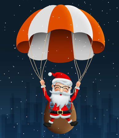 Santa claus character in Para suit vector background design. Cute christmas character santa claus flying with Para suit and carrying bag or sack with happy face in snow falling night background. Vector illustration.