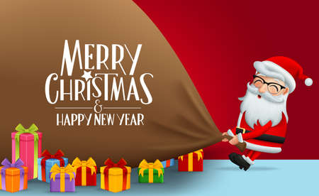 Christmas character santa claus with big sack vector background design. Merry christmas and happy new year greeting text with santa claus pulling big sack and colorful gifts in red wall background. Vector illustration.