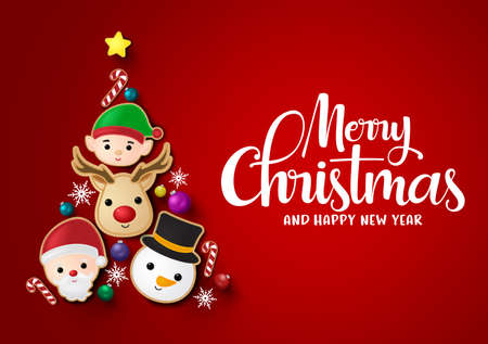 Christmas tree vector background design. Merry chistmas and happy ne year greeting typography text with reindeer, snowman, santa claus, elf, candy cane balls and snowflakes element in christmas tree   일러스트