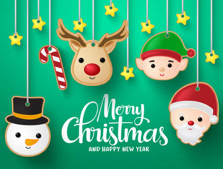 Christmas hanging elements vector background design. Merry christmas greeting typography text with reindeer, snowman, santa claus, elf, candy cane and stars hanging elements in green background. Vector illustration.