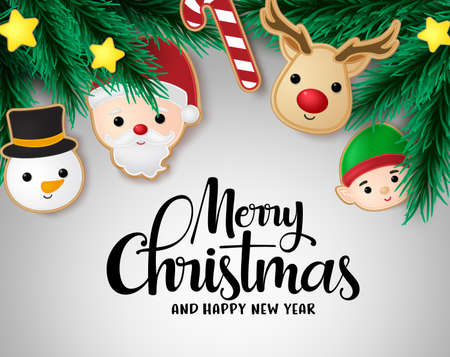 Christmas with hanging elements vector background template. Merry christmas with pine leaves, candy cane, reindeer, santa claus, snowman, elf and stars xmas hang elements in gray background. Vector illustration