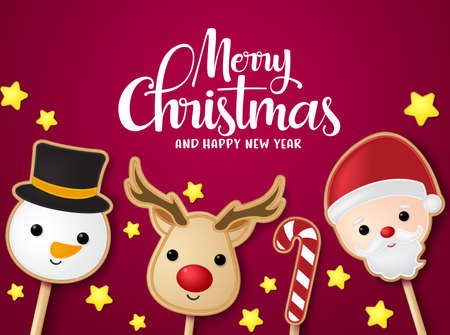 Christmas greeting card vector banner template. Merry christmas and happy new year typography with xmas elements of santa claus, reindeer, and snowman lollipop in red background. Vector illustration.