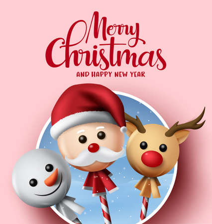 Christmas greeting vector background design. Merry christmas typography text with xmas element of sweet lollipop cover with santa claus, snowman, reindeer with circle frame in pink background. Vector illustration. Ilustrace