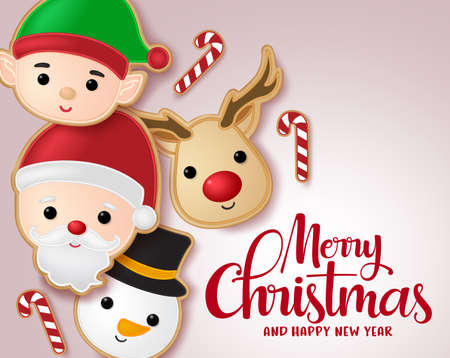 Christmas gingerbread cookie vector banner template. Merry christmas typography greeting with gingerbread cookie elements of santa claus, reindeer, elf and snowman character in red background. Vector illustration.