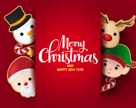 Christmas greeting vector background template. Merry christmas typography with santa claus, snowman, reindeer and elf gingerbread cookie elements and empty space for messages in red background. Vector illustration. Ilustrace