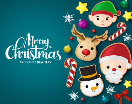 Christmas elements vector banner template. Merry Christmas greeting typography in blue empty space with xmas element like santa claus, reindeer, snowman, elf ,candy cane and star gingerbread cookie in blue background. Vector illustration.