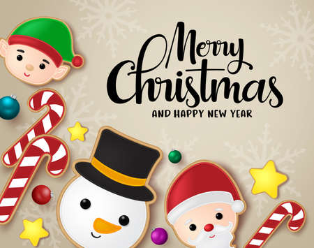 Christmas greeting vector banner background. Merry christmas and happy new year typography text with candy cane, snowman, santa claus, elf and stars gingerbread cookie dessert in brown with snowflakes background. Vector illustration.