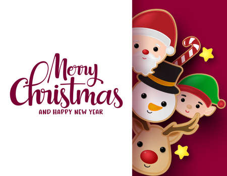 Christmas greeting card vector background template. Merry christmas typography text in empty white space for messages with snowman, reindeer, santa claus and cookie gingerbread elements in red background. Vector illustration.