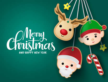 Chirtsmas hanging elements vector background template. Merry christmas greeting text in empty space for messages with reindeer, elf, santa claus, candy cane and stars hang elements in green background. Vector illustration.