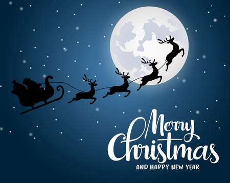 Christmas santa claus riding reindeer vector background design. Merry christmas and happy new year greeting typography with santa claus flying in sleigh with reindeer in a moon light with snow background. Vector illustration.
