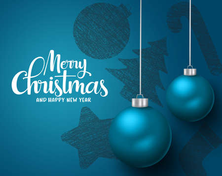 Christmas balls hang vector background design. Merry christmas and happy new year greeting text with blue hanging  xmas balls elements in blue background. Vector illustration.