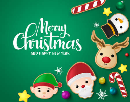 Christmas elements in green background vector banner template. Merry christmas greeting card with santa claus, reindeer, candy cane, snowman, stars, balls and snowflakes xmas elements in green background. Vector illustration. Ilustrace