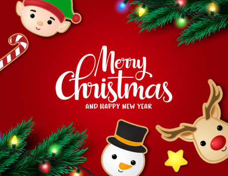 Christmas in red background vector banner template. Merry christmas typography with gingerbread cookie character of reindeer, snowman, elf, candy cane and xmas elements of pine leaves and lights in red background. Vector illustration.