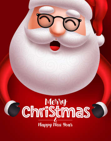 Santa claus christmas character vector concept. Santa claus with long beard happy talking with merry christmas greeting text in red background for holiday season. Vector illustration. Ilustrace