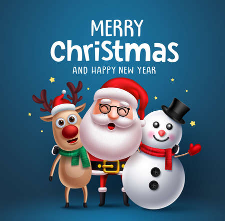 Santa claus christmas character vector greeting card concept. Merry christmas greeting text with santa claus, snowman and reindeer standing and talking  in blue background. Vector illustration.