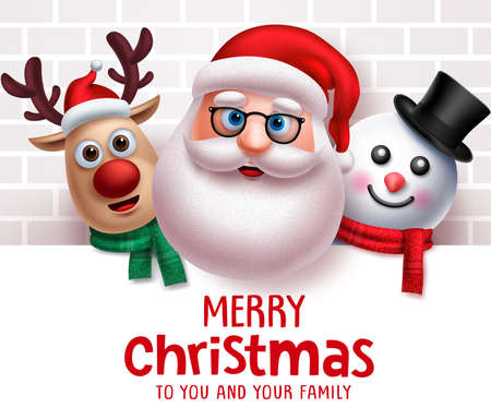 Santa claus christmas characters vector background template. Merry christmas greeting text from santa claus, reindeer and snowman character in white board with empty space for messages in white wall background. Vector illustration.