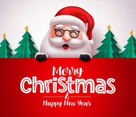 Santa claus character vector christmas greeting template. Christmas santa claus holding greeting board with space for messages in white background. Vector illustration.