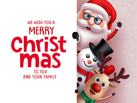 Christmas santa vector greeting template. Santa claus, snow man and reindeer characters holding merry christmas greeting text in white board for holiday season in 3d realistic design. Vector illustrat