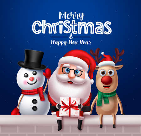 Christmas santa claus characters greeting card design. Santa claus, reindeer and snowman vector characters sitting outside holding gifts with merry christmas text in blue night background. Vector illustration.