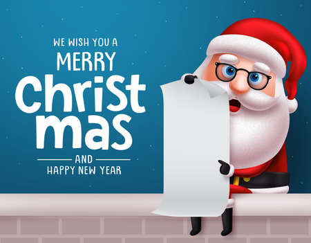 Christmas santa claus vector character design background. Santa claus sitting and holding white empty christmas wish list paper with merry christmas greeting text in blue background. Vector illustration. Ilustrace