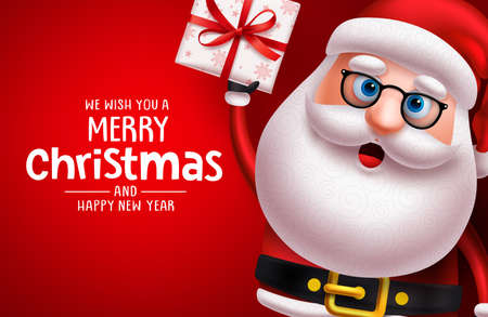 Christmas santa claus character vector banner template. Merry christmas greeting text with santa claus 3d realistic character holding xmas gift and empty space for messages in red background. Vector illustration. Ilustrace