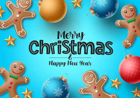 Christmas gingerbread vector background. Merry christmas greeting text with colorful xmas elements of gingerbread cookie and xmas balls in blue background. Vector illustration. Ilustrace