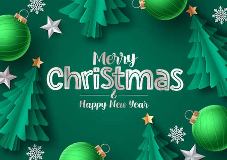 Christmas tree vector greeting card. Merry christmas greeting text with green pine tree, snowflakes, balls and stars in green background. Vector illustration. 일러스트