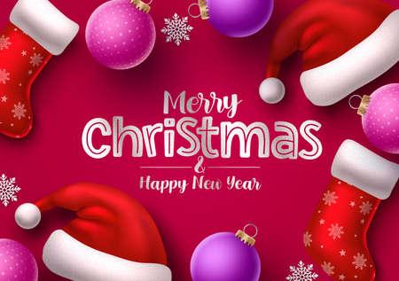 Christmas hat and sock vector banner. Merry christmas greeting text for holiday season with xmas elements like santa hat, socks, balls, and snowflakes. Vector Illustration.