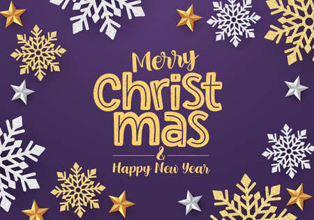 Christmas snowflakes vector banner design. Merry christmas greeting card with gold and silver snowflakes and stars in purple background. Vector illustration. Ilustrace